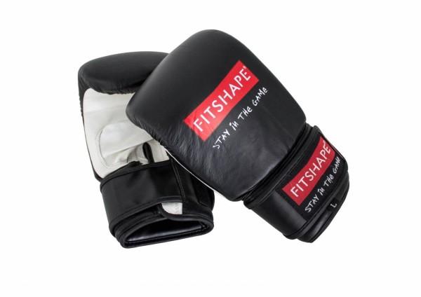 Fitshape Zakhandschoen Deluxe Leder Zwart/wit