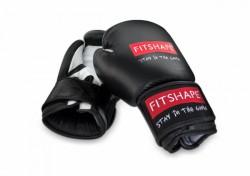 Fitshape Bokshandschoenen zwart/wit leer