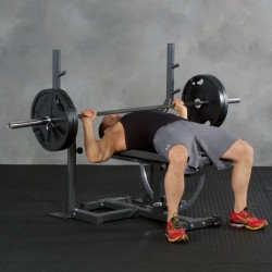 Rack d'haltères longs Ironmaster pour banc de musculation Super Bench