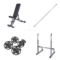 Taurus banc de musculation B900 + rack d'haltères longs + kit 75