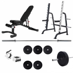 Set Squat Rack Taurus Pro avec banc de musculation B990