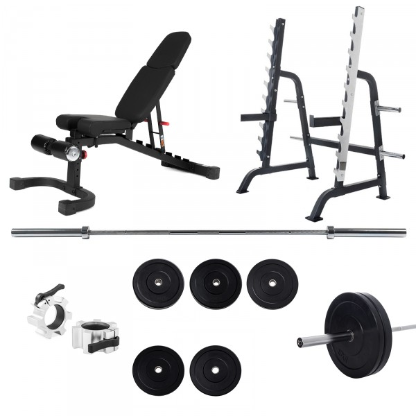 Taurus Squat Rack Pro Set with Weight Bench B990